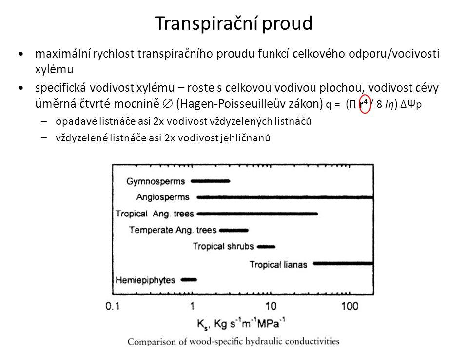 Transpirační proud •maximální rychlost transpiračního proudu funkcí celkového odporu/vodivosti xylému •specifická vodivost xylému – roste s celkovou v