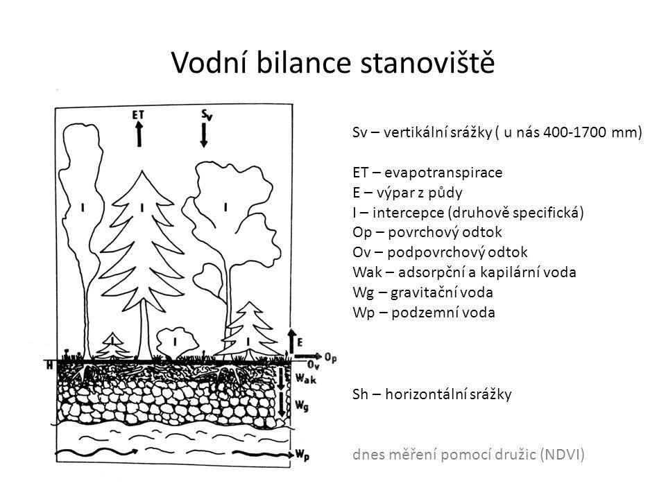 Vodní bilance stanoviště Sv – vertikální srážky ( u nás 400-1700 mm) ET – evapotranspirace E – výpar z půdy I – intercepce (druhově specifická) Op – p