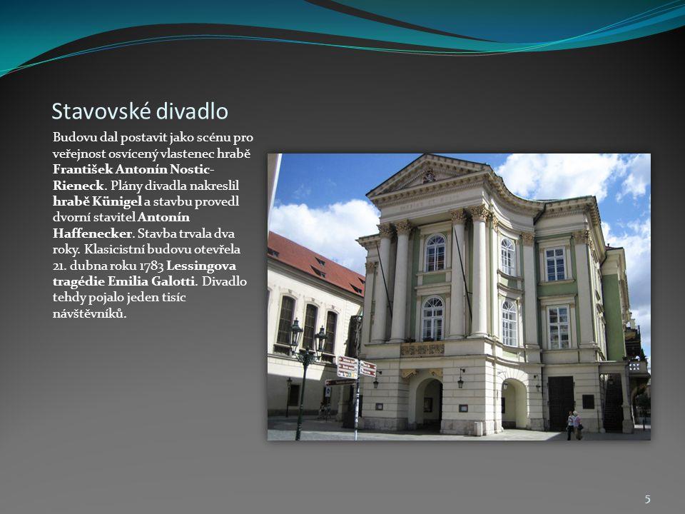 Stavovské divadlo Budovu dal postavit jako scénu pro veřejnost osvícený vlastenec hrabě František Antonín Nostic- Rieneck. Plány divadla nakreslil hra