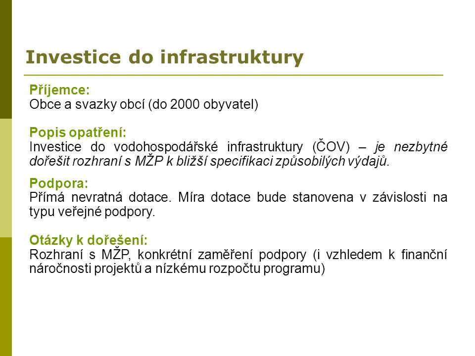 Investice do infrastruktury Příjemce: Obce a svazky obcí (do 2000 obyvatel) Popis opatření: Investice do vodohospodářské infrastruktury (ČOV) – je nez