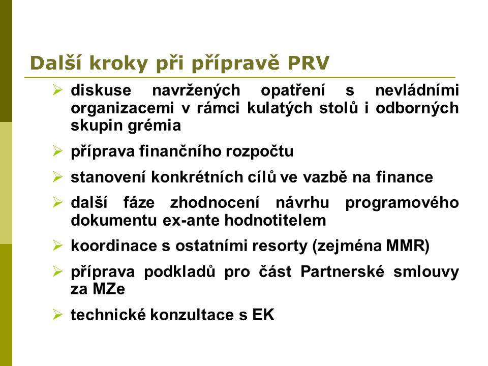 Další kroky při přípravě PRV  diskuse navržených opatření s nevládními organizacemi v rámci kulatých stolů i odborných skupin grémia  příprava finan