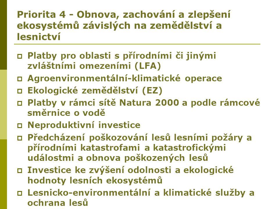 Priorita 4 - Obnova, zachování a zlepšení ekosystémů závislých na zemědělství a lesnictví  Platby pro oblasti s přírodními či jinými zvláštními omeze