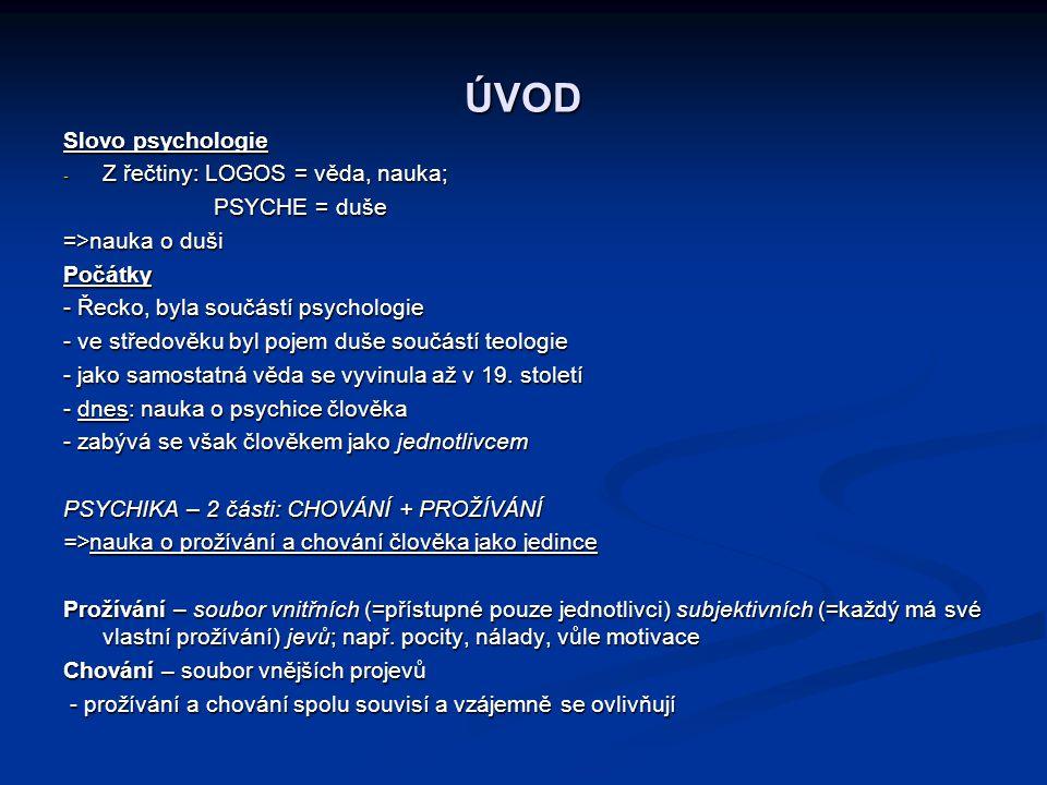 ÚVOD Slovo psychologie - Z řečtiny: LOGOS = věda, nauka; PSYCHE = duše PSYCHE = duše =>nauka o duši Počátky - Řecko, byla součástí psychologie - ve st