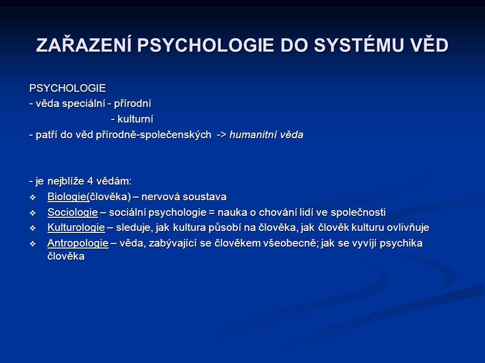 ZAŘAZENÍ PSYCHOLOGIE DO SYSTÉMU VĚD PSYCHOLOGIE - věda speciální - přírodní - kulturní - kulturní - patří do věd přírodně-společenských -> humanitní v