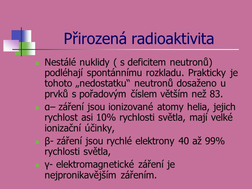 """Přirozená radioaktivita  Nestálé nuklidy ( s deficitem neutronů) podléhají spontánnímu rozkladu. Prakticky je tohoto """"nedostatku"""" neutronů dosaženo u"""