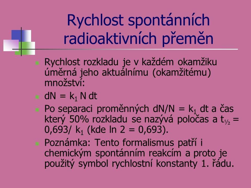 Rychlost spontánních radioaktivních přeměn  Rychlost rozkladu je v každém okamžiku úměrná jeho aktuálnímu (okamžitému) množství:  dN = k 1 N dt  Po