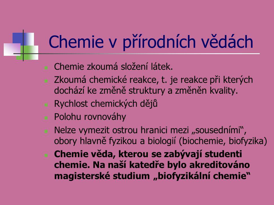 Chemie v přírodních vědách  Chemie zkoumá složení látek.  Zkoumá chemické reakce, t. je reakce při kterých dochází ke změně struktury a změněn kvali