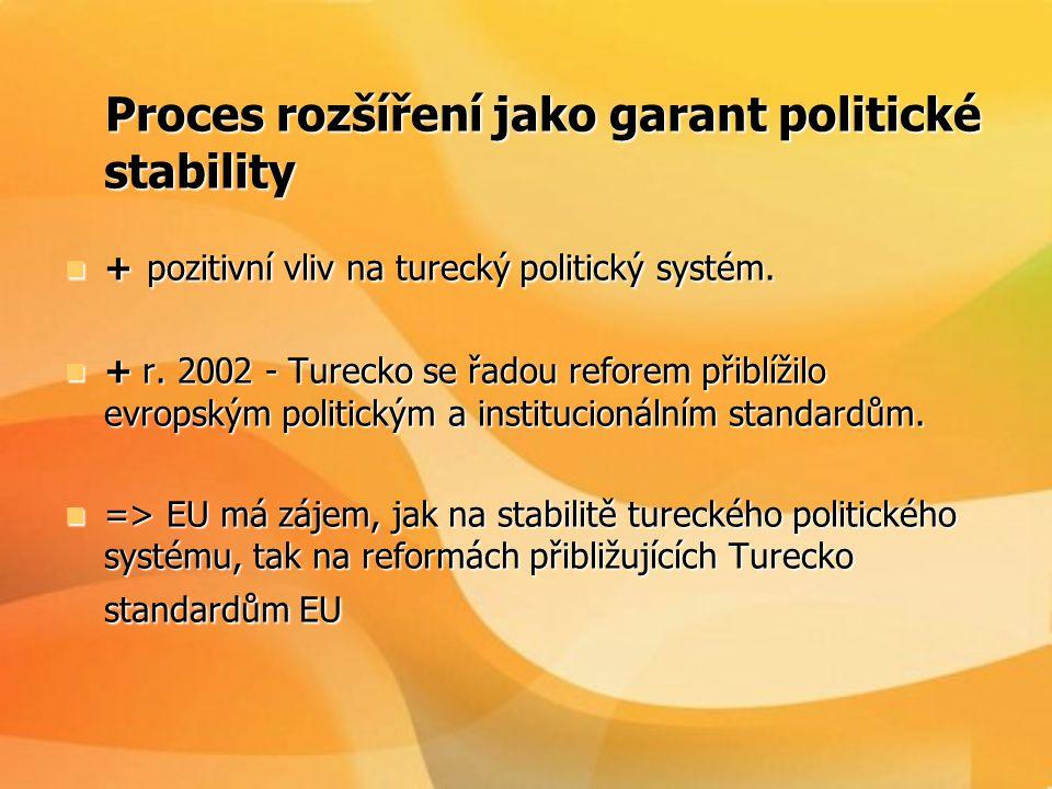 Proces rozšíření jako garant politické stability Proces rozšíření jako garant politické stability  + pozitivní vliv na turecký politický systém.  +