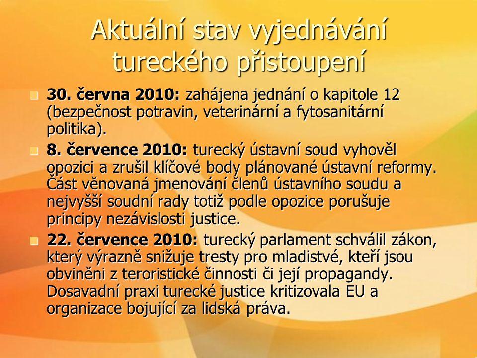Aktuální stav vyjednávání tureckého přistoupení  30. června 2010: zahájena jednání o kapitole 12 (bezpečnost potravin, veterinární a fytosanitární po
