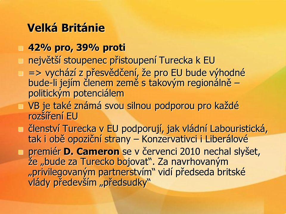 Velká Británie Velká Británie  42% pro, 39% proti  největší stoupenec přistoupení Turecka k EU  => vychází z přesvědčení, že pro EU bude výhodné bu