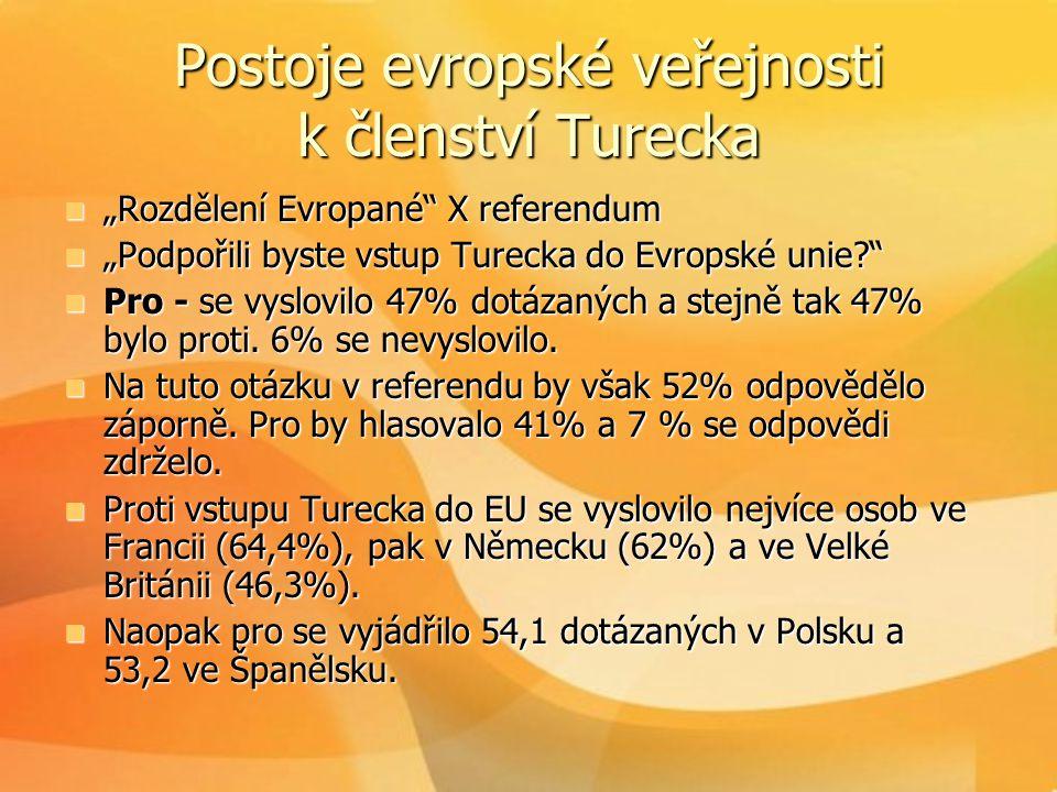 """Postoje evropské veřejnosti k členství Turecka  """"Rozdělení Evropané"""" X referendum  """"Podpořili byste vstup Turecka do Evropské unie?""""  Pro - se vysl"""