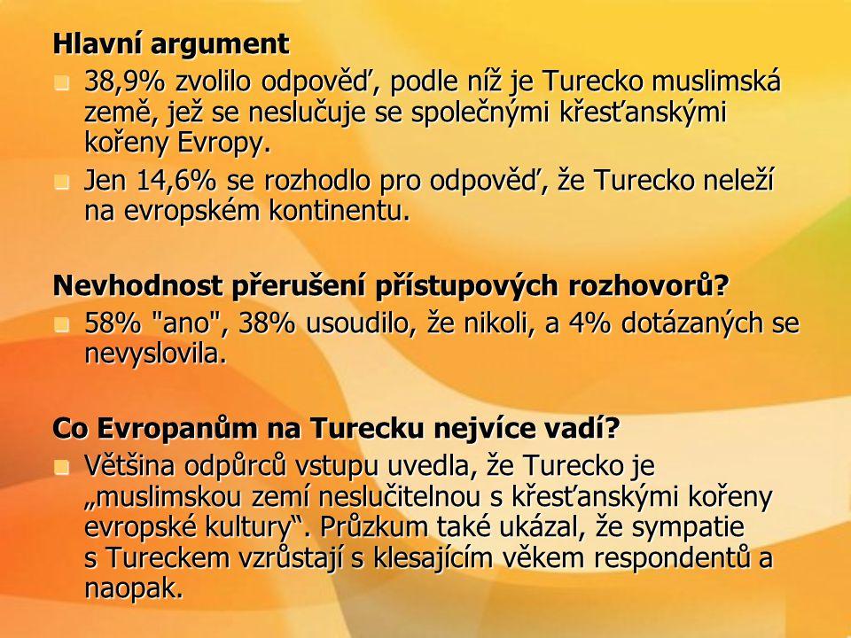 Hlavní argument  38,9% zvolilo odpověď, podle níž je Turecko muslimská země, jež se neslučuje se společnými křesťanskými kořeny Evropy.  Jen 14,6% s