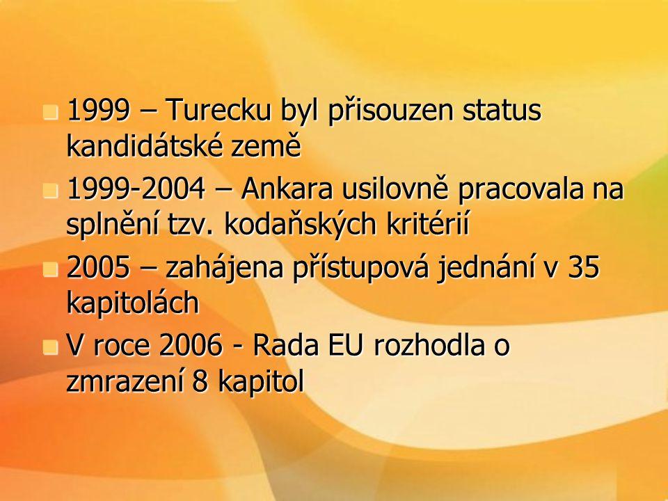  1999 – Turecku byl přisouzen status kandidátské země  1999-2004 – Ankara usilovně pracovala na splnění tzv. kodaňských kritérií  2005 – zahájena p