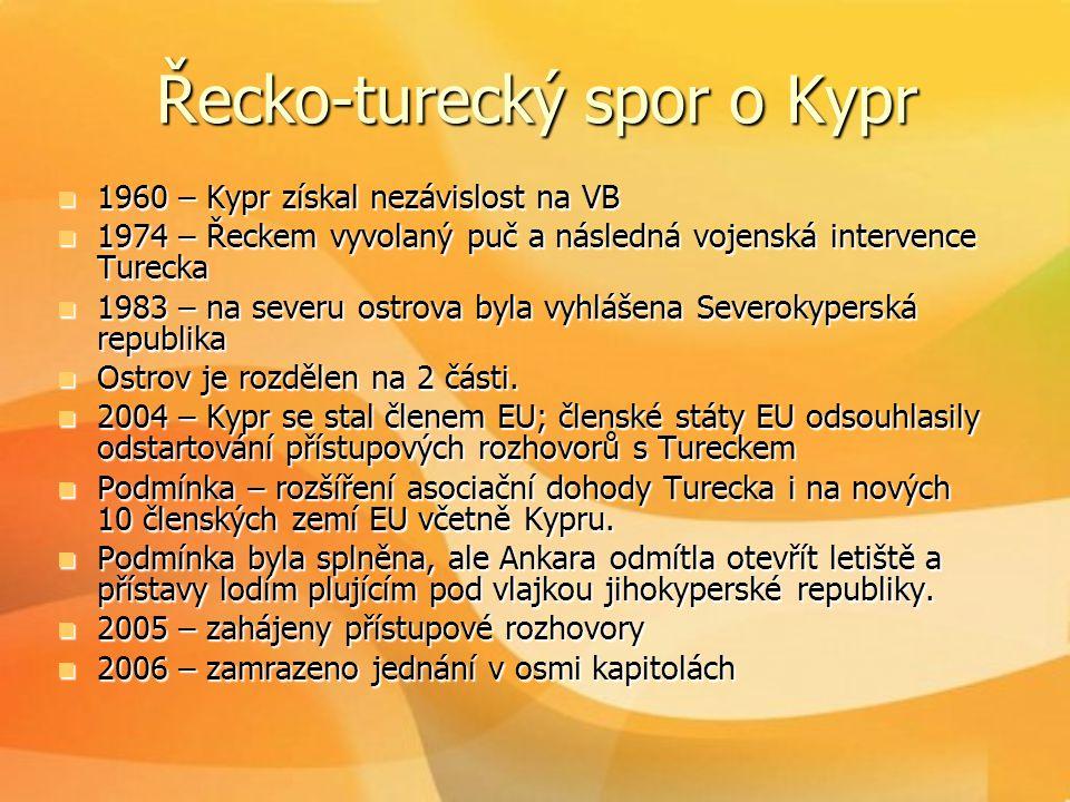 Řecko-turecký spor o Kypr  1960 – Kypr získal nezávislost na VB  1974 – Řeckem vyvolaný puč a následná vojenská intervence Turecka  1983 – na sever