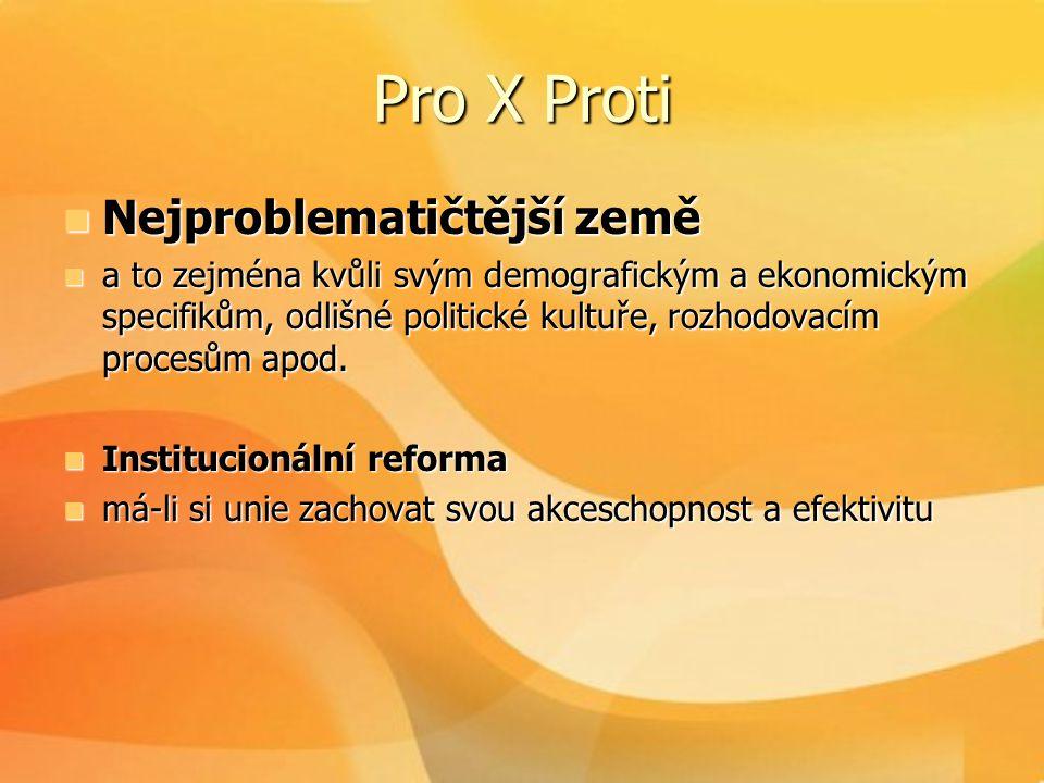 Pro X Proti  Nejproblematičtější země  a to zejména kvůli svým demografickým a ekonomickým specifikům, odlišné politické kultuře, rozhodovacím proce