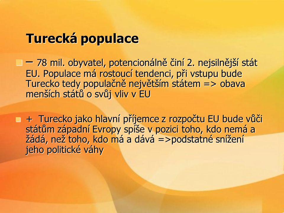 Chudoba turecké populace Chudoba turecké populace  - V roce 2002 dosáhl HDP na obyvatele 23% průměru EU a více než 40% obyvatelstva bylo zaměstnáno v zemědělství => převážná část rozpočtu na podporu chudých regionů a zemědělství, vstup Turecka by znamenal buď zánik Společné zemědělské politiky současné podoby nebo značný nárůst rozpočtu.