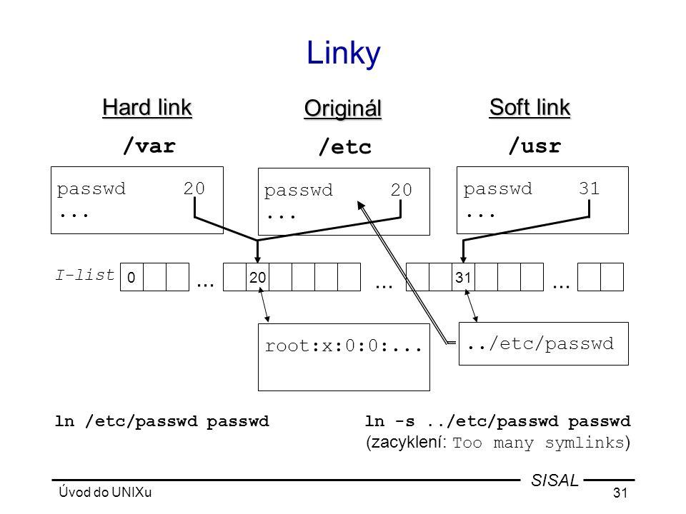 Úvod do UNIXu 31 SISAL Linky root:x:0:0:...../etc/passwd ln -s../etc/passwd passwd (zacyklení: Too many symlinks ) ln /etc/passwd passwd 0 I-list...