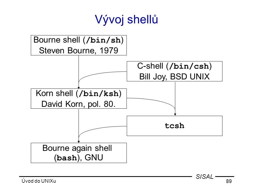 Úvod do UNIXu 89 SISAL Vývoj shellů Bourne shell ( /bin/sh ) Steven Bourne, 1979 C-shell ( /bin/csh ) Bill Joy, BSD UNIX Bourne again shell ( bash ), GNU tcsh Korn shell ( /bin/ksh ) David Korn, pol.