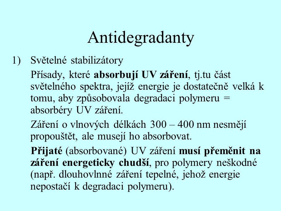 Antidegradanty 1)Světelné stabilizátory Přísady, které absorbují UV záření, tj.tu část světelného spektra, jejíž energie je dostatečně velká k tomu, a