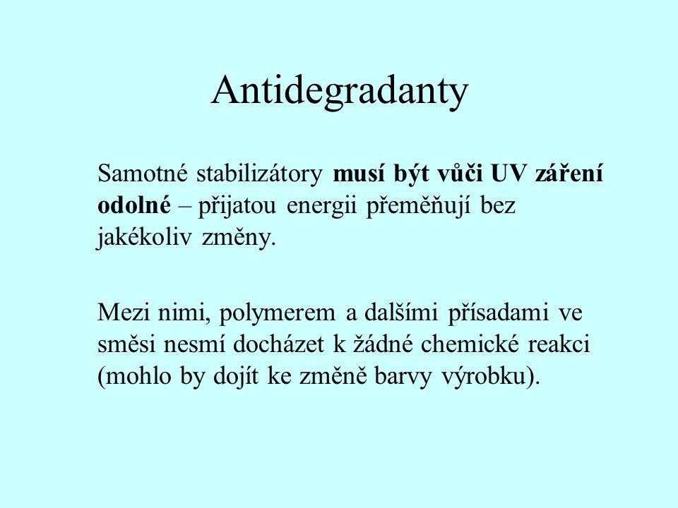Antidegradanty Samotné stabilizátory musí být vůči UV záření odolné – přijatou energii přeměňují bez jakékoliv změny. Mezi nimi, polymerem a dalšími p