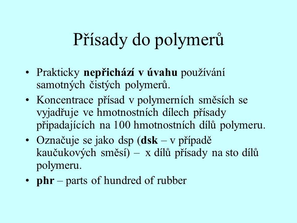 Přísady do polymerů •Prakticky nepřichází v úvahu používání samotných čistých polymerů. •Koncentrace přísad v polymerních směsích se vyjadřuje ve hmot