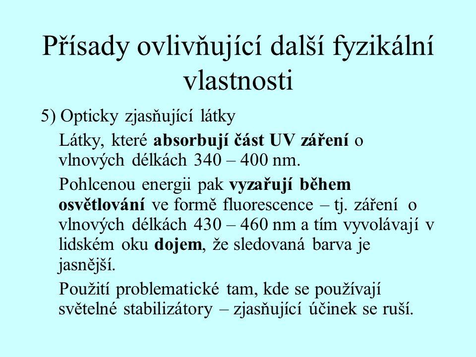 Přísady ovlivňující další fyzikální vlastnosti 5) Opticky zjasňující látky Látky, které absorbují část UV záření o vlnových délkách 340 – 400 nm. Pohl