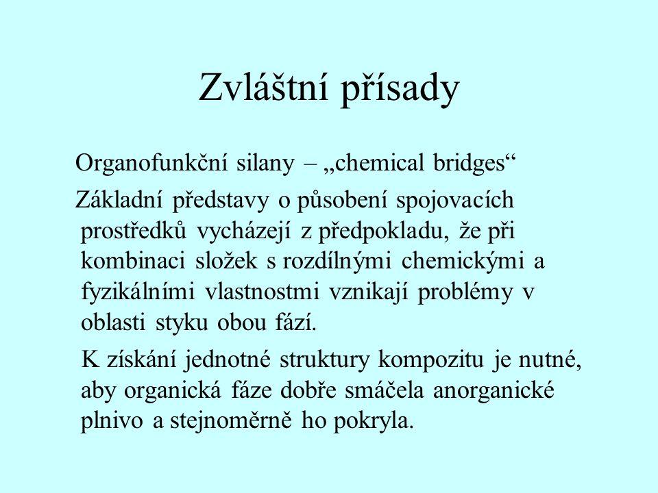 """Zvláštní přísady Organofunkční silany – """"chemical bridges"""" Základní představy o působení spojovacích prostředků vycházejí z předpokladu, že při kombin"""