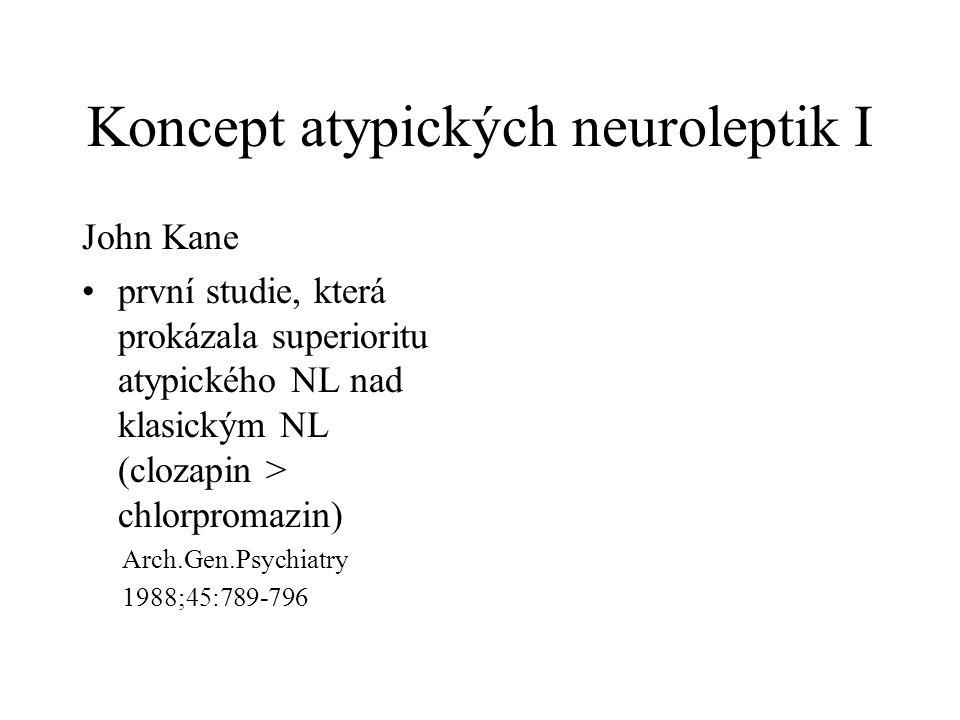 Koncept atypických neuroleptik I John Kane •první studie, která prokázala superioritu atypického NL nad klasickým NL (clozapin > chlorpromazin) Arch.Gen.Psychiatry 1988;45:789-796
