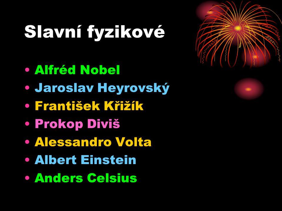 Slavní fyzikové •A•Alfréd Nobel •J•Jaroslav Heyrovský •F•František Křižík •P•Prokop Diviš •A•Alessandro Volta •A•Albert Einstein •A•Anders Celsius