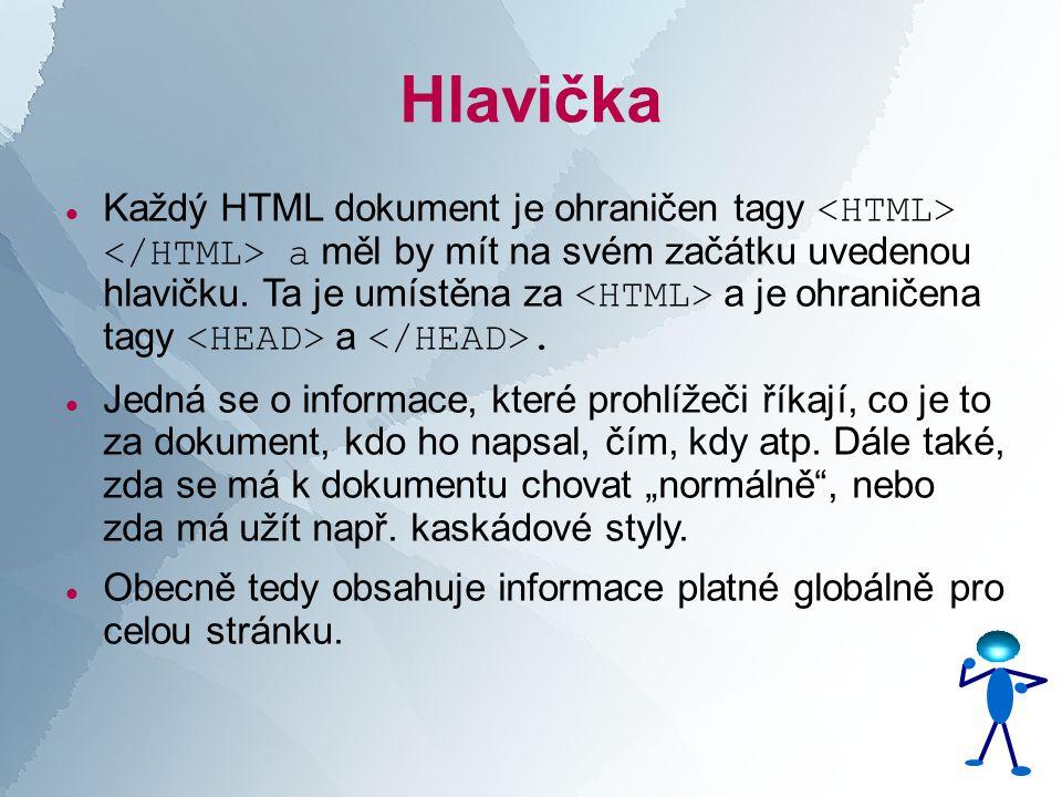Hlavička  Každý HTML dokument je ohraničen tagy a měl by mít na svém začátku uvedenou hlavičku.