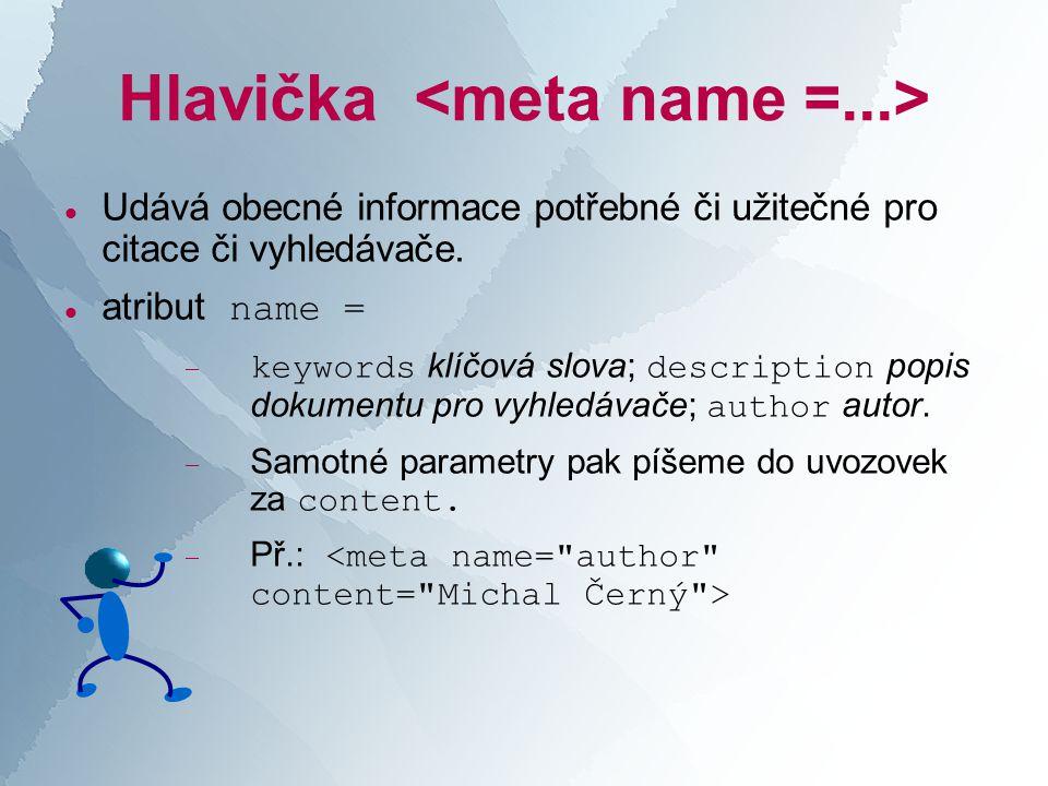 Hlavička  Udává obecné informace potřebné či užitečné pro citace či vyhledávače.