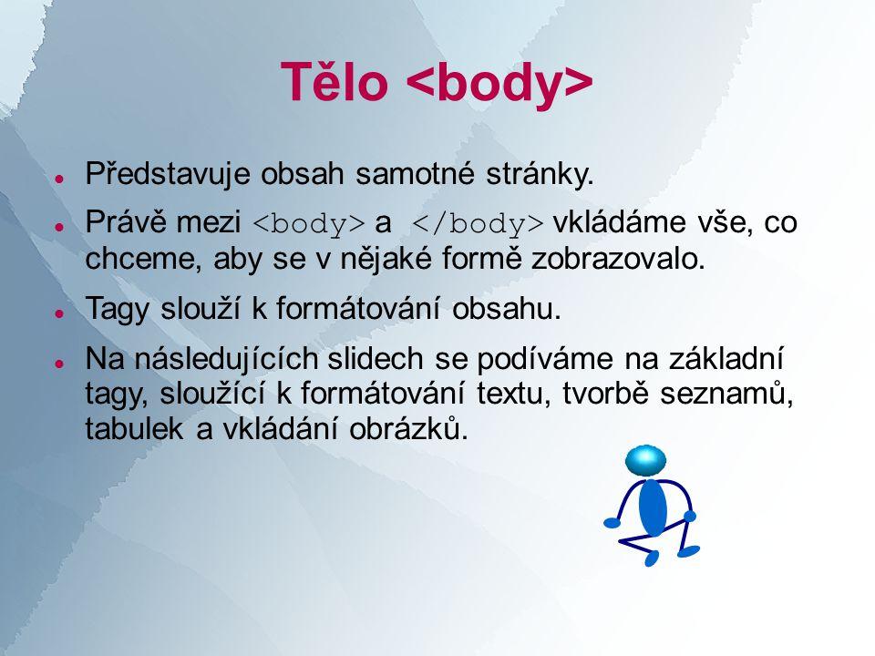 Tělo  Představuje obsah samotné stránky.