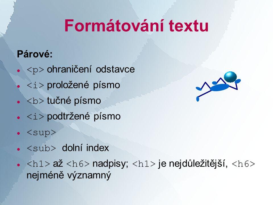 Formátování textu Párové:  ohraničení odstavce  proložené písmo  tučné písmo  podtržené písmo   dolní index  až nadpisy; je nejdůležitější, nejméně významný
