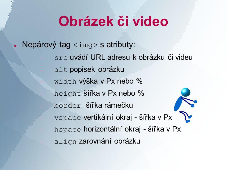 Obrázek či video  Nepárový tag s atributy:  src uvádí URL adresu k obrázku či videu  alt popisek obrázku  width výška v Px nebo %  height šířka v Px nebo %  border šířka rámečku  vspace vertikální okraj - šířka v Px  hspace horizontální okraj - šířka v Px  align zarovnání obrázku