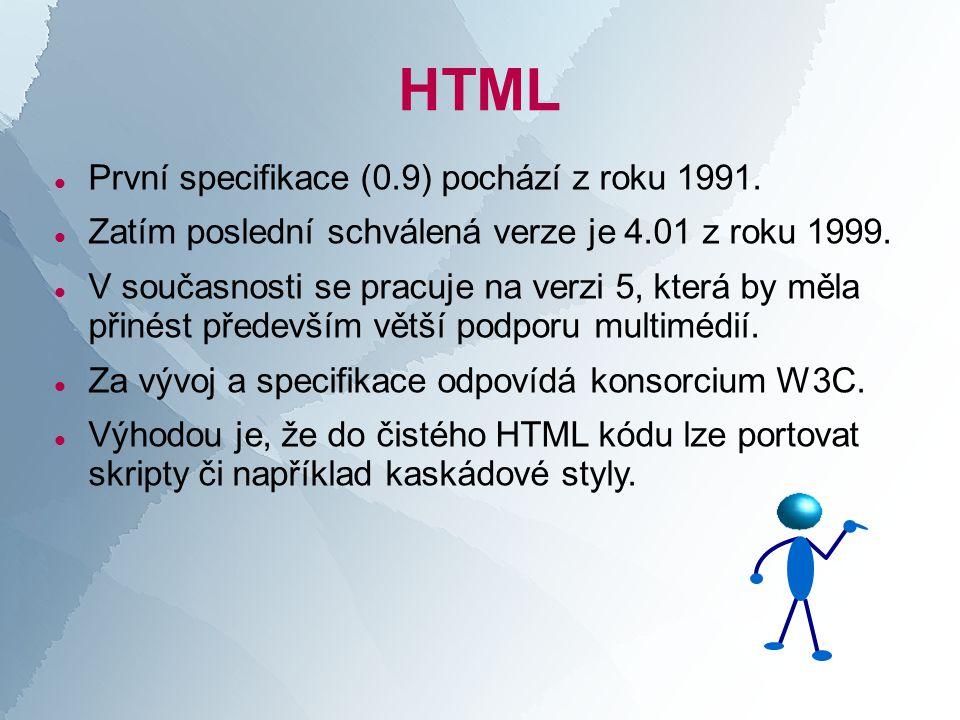 HTML  První specifikace (0.9) pochází z roku 1991.