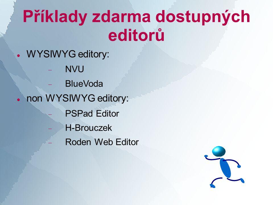Příklady zdarma dostupných editorů  WYSIWYG editory:  NVU  BlueVoda  non WYSIWYG editory:  PSPad Editor  H-Brouczek  Roden Web Editor