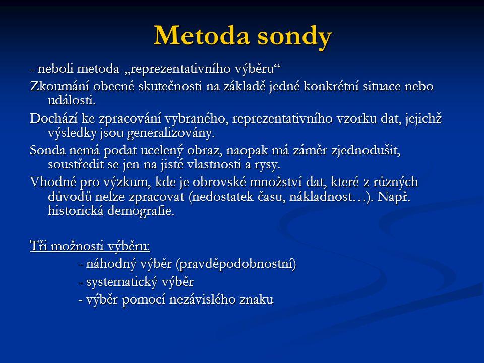 """Metoda sondy - neboli metoda """"reprezentativního výběru"""" Zkoumání obecné skutečnosti na základě jedné konkrétní situace nebo události. Dochází ke zprac"""