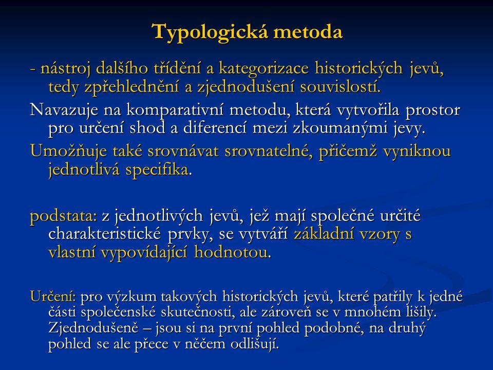 Typologická metoda - nástroj dalšího třídění a kategorizace historických jevů, tedy zpřehlednění a zjednodušení souvislostí. Navazuje na komparativní