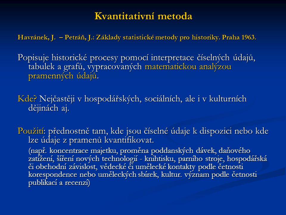 Kvantitativní metoda Havránek, J. – Petráň, J.: Základy statistické metody pro historiky. Praha 1963. Popisuje historické procesy pomocí interpretace