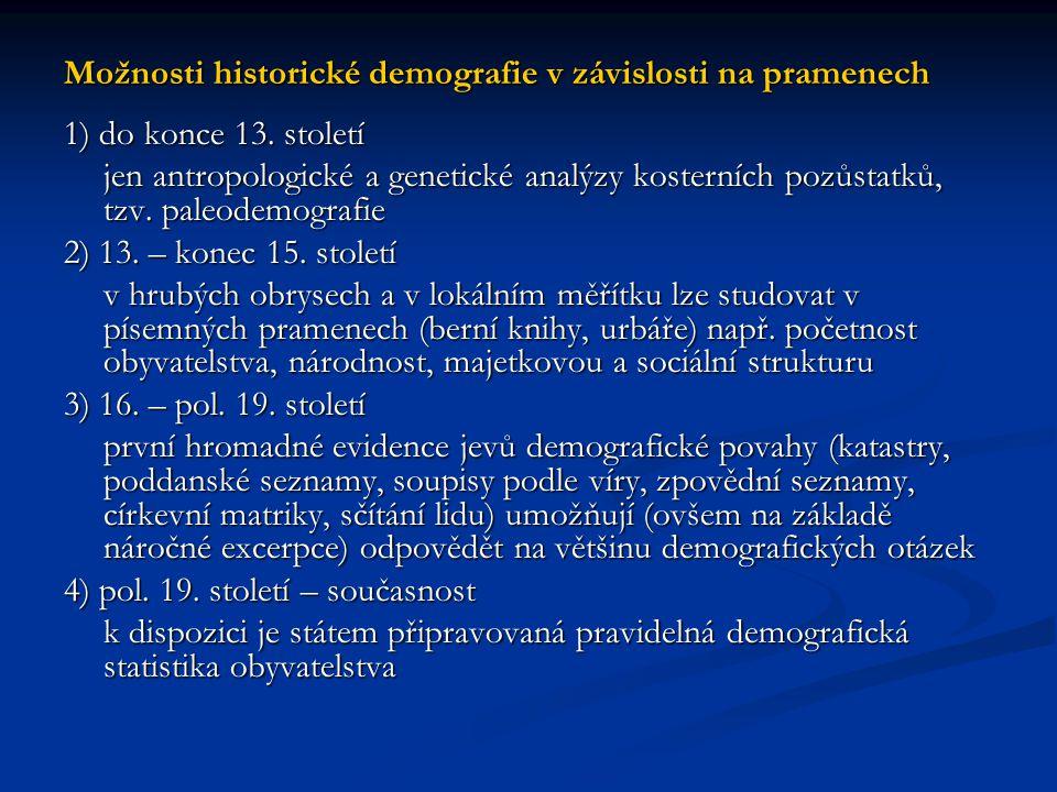 Možnosti historické demografie v závislosti na pramenech 1) do konce 13. století jen antropologické a genetické analýzy kosterních pozůstatků, tzv. pa