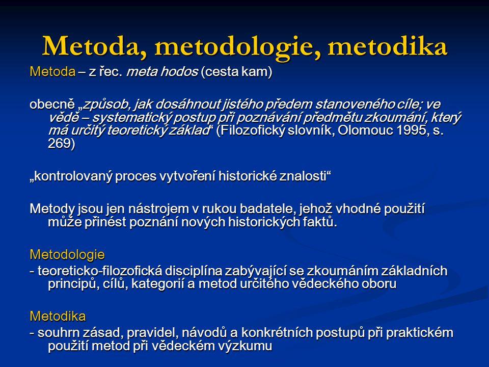 Základní metody historiografie - přímá a nepřímá metoda - induktivní a deduktivní metoda - komparativní metoda - metoda sondy - modelová analýza - typologická metoda - kvantitativní metoda (historická statistika) - geografická metoda - filologická metoda - ikonografická metoda - biografická metoda - metoda orální historie