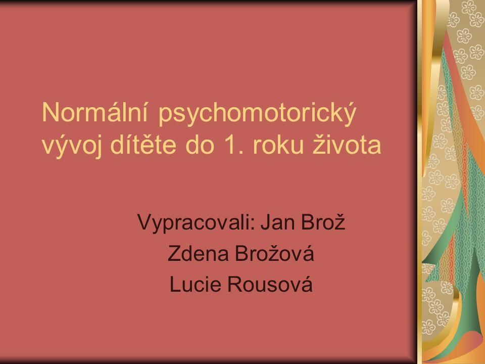Normální psychomotorický vývoj dítěte do 1. roku života Vypracovali: Jan Brož Zdena Brožová Lucie Rousová