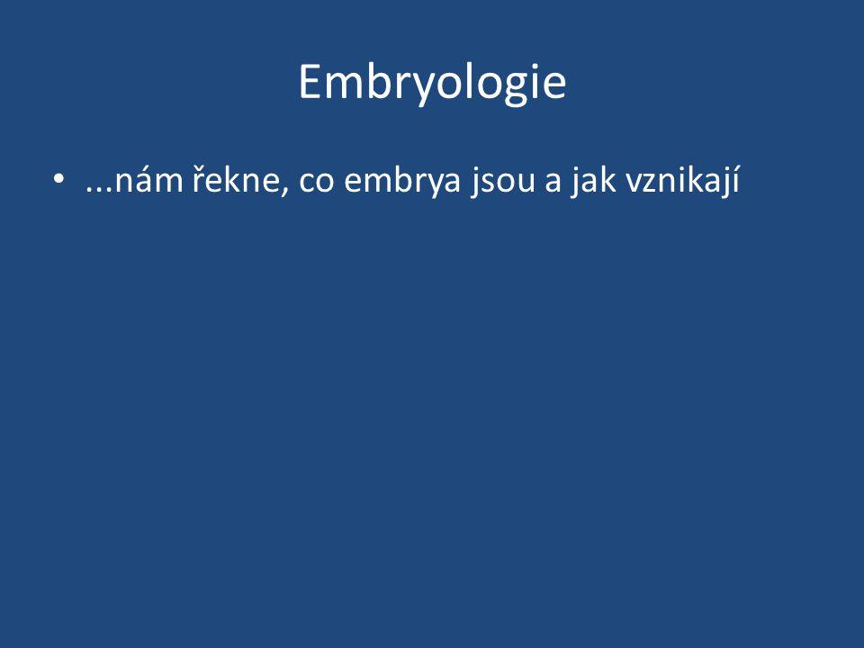 Embryologie •...nám řekne, co embrya jsou a jak vznikají