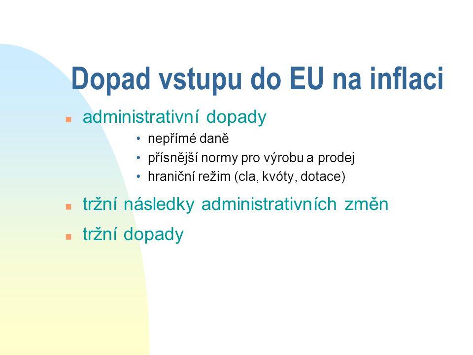 Dopad vstupu do EU na inflaci n administrativní dopady •nepřímé daně •přísnější normy pro výrobu a prodej •hraniční režim (cla, kvóty, dotace) n tržní následky administrativních změn n tržní dopady