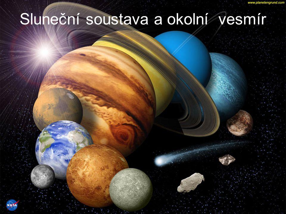 Sluneční soustava =soubor všech kosmických těles obíhajících v gravitačním poli kolem svého energetického zdroje, Slunce, v protáhlém diskovitém útvaru (tzn.Slunce, planety a jejich družice, asteroidy, komety a meteory, hvězdný prach…).