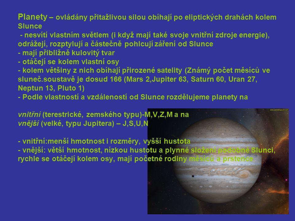Planety – ovládány přitažlivou silou obíhají po eliptických drahách kolem Slunce - nesvítí vlastním světlem (i když mají také svoje vnitřní zdroje energie), odrážejí, rozptylují a částečně pohlcují záření od Slunce - mají přibližně kulovitý tvar - otáčejí se kolem vlastní osy - kolem většiny z nich obíhají přirozené satelity (Známý počet měsíců ve sluneč.soustavě je dosud 166 (Mars 2,Jupiter 63, Saturn 60, Uran 27, Neptun 13, Pluto 1) - Podle vlastností a vzdáleností od Slunce rozdělujeme planety na vnitřní (terestrické, zemského typu)-M,V,Z,M a na vnější (velké, typu Jupitera) – J,S,U,N - vnitřní:menší hmotnost i rozměry, vyšší hustota - vnější: větší hmotnost, nízkou hustotu a plynné složení podobné Slunci, rychle se otáčejí kolem osy, mají početné rodiny měsíců a prstence