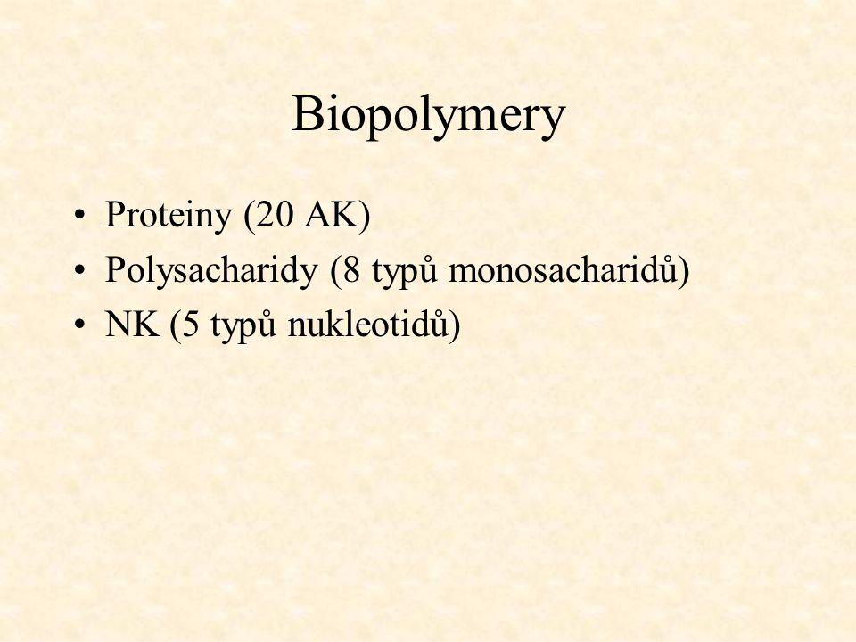 Biopolymery •Proteiny (20 AK) •Polysacharidy (8 typů monosacharidů) •NK (5 typů nukleotidů)
