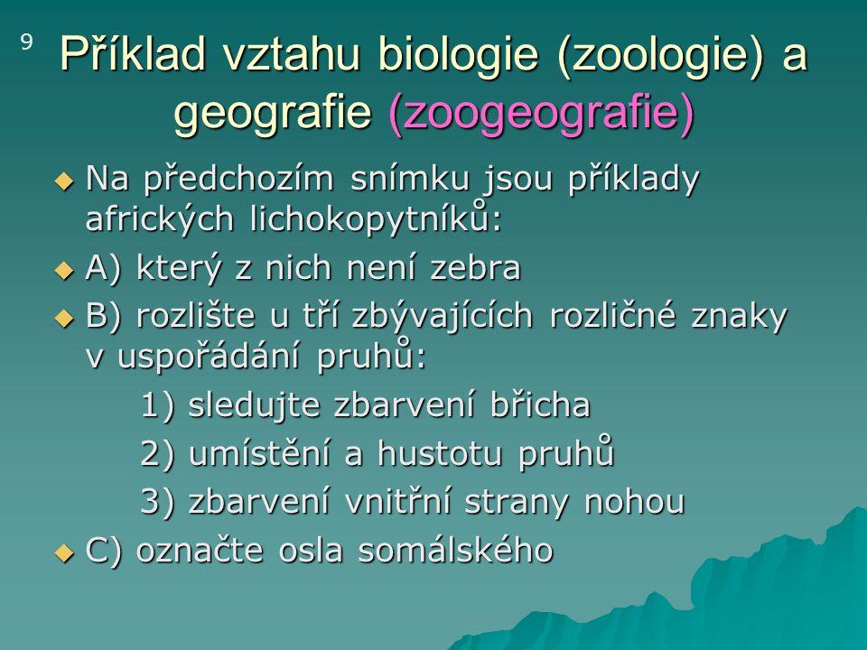 Příklad vztahu biologie (zoologie) a geografie (zoogeografie)  Na předchozím snímku jsou příklady afrických lichokopytníků:  A) který z nich není ze