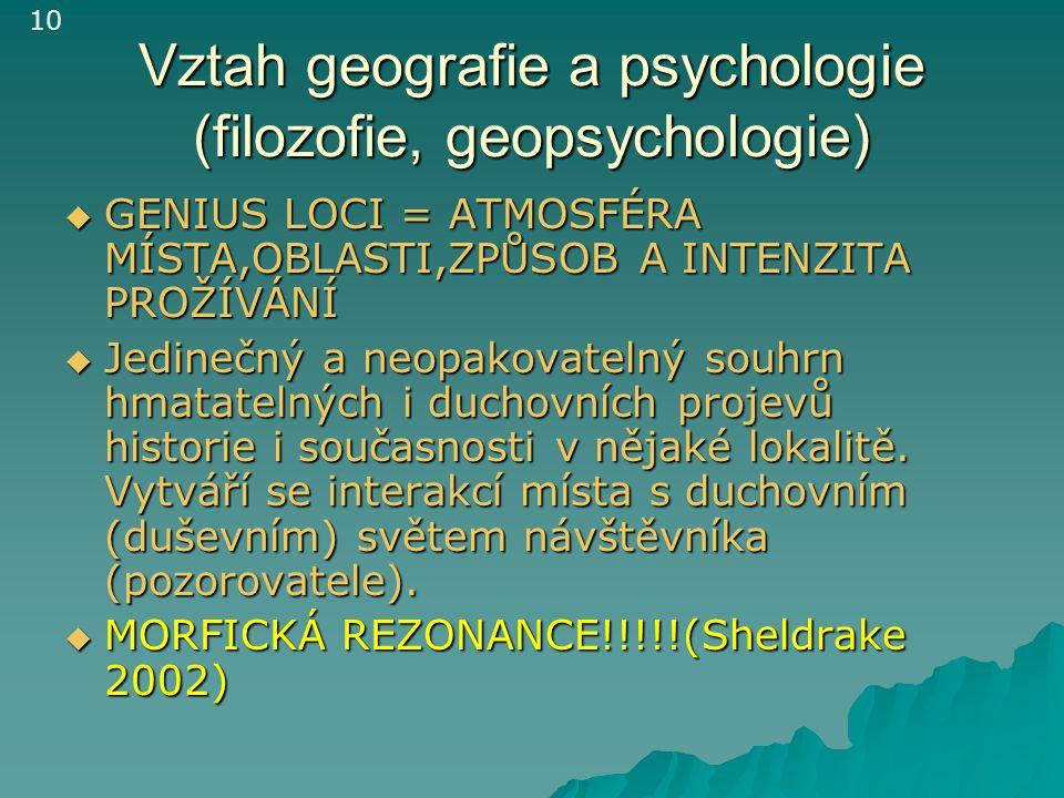 Vztah geografie a psychologie (filozofie, geopsychologie)  GENIUS LOCI = ATMOSFÉRA MÍSTA,OBLASTI,ZPŮSOB A INTENZITA PROŽÍVÁNÍ  Jedinečný a neopakova