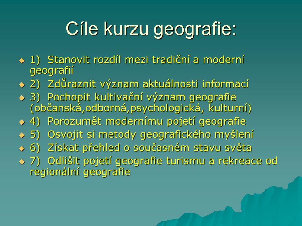 Cíle kurzu geografie:  1) Stanovit rozdíl mezi tradiční a moderní geografií  2) Zdůraznit význam aktuálnosti informací  3) Pochopit kultivační význ